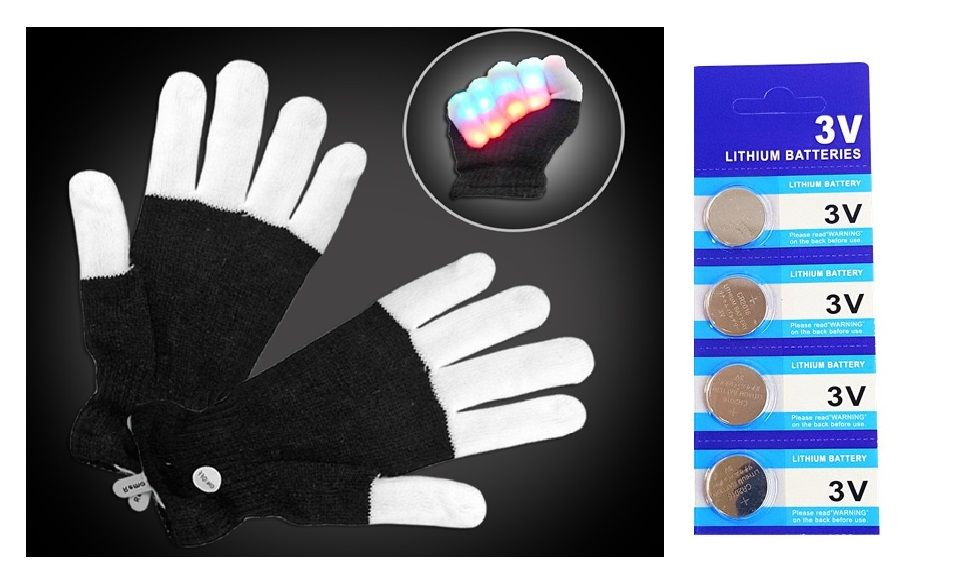 LED Light Gloves Xmas Gift, Birthday Gift, Halloween, Event Light Show Party Gloves with Extra 4 Pcs of Batteries (Black With White Finger 7 Color & 6 Modes Gloves)
