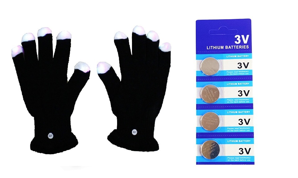 LED Light Gloves Xmas Gift, Birthday Gift, Halloween, Event Light Show Party Gloves with Extra 4 Pcs of Batteries (Black 7 Color & 6 Modes Gloves)