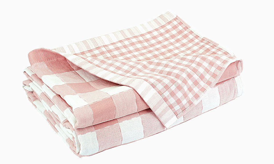 Pink / White Square Design Quilted Throw Blanket