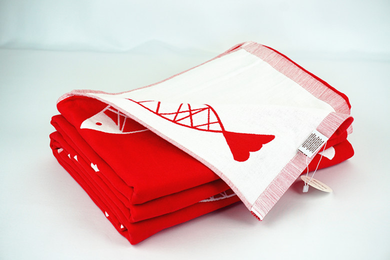 Red and White fish Design Quilted Throw Blanket