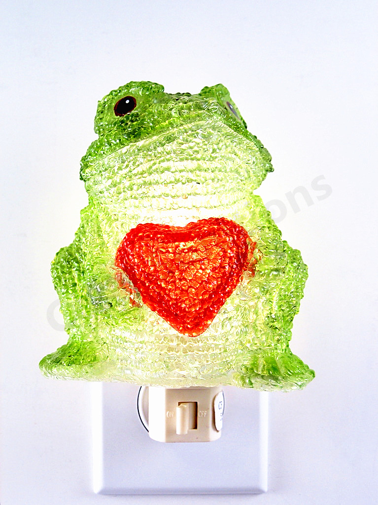 Green Frog With Red Hearts Night Lights