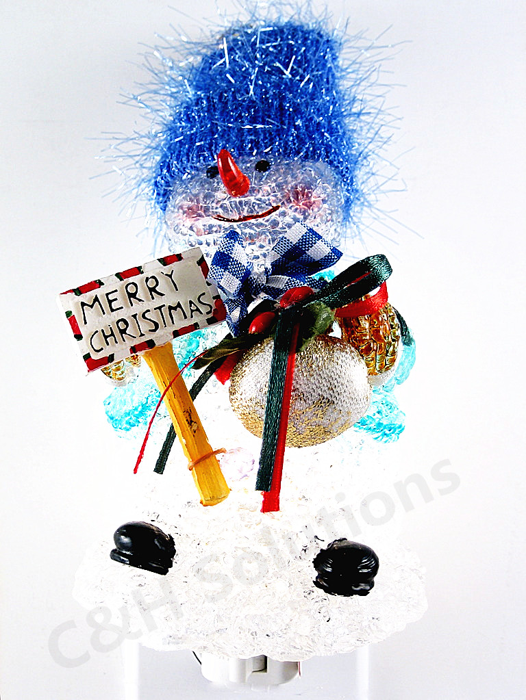 Merry Christmas Blue Hat Cute Snowman Night Lights