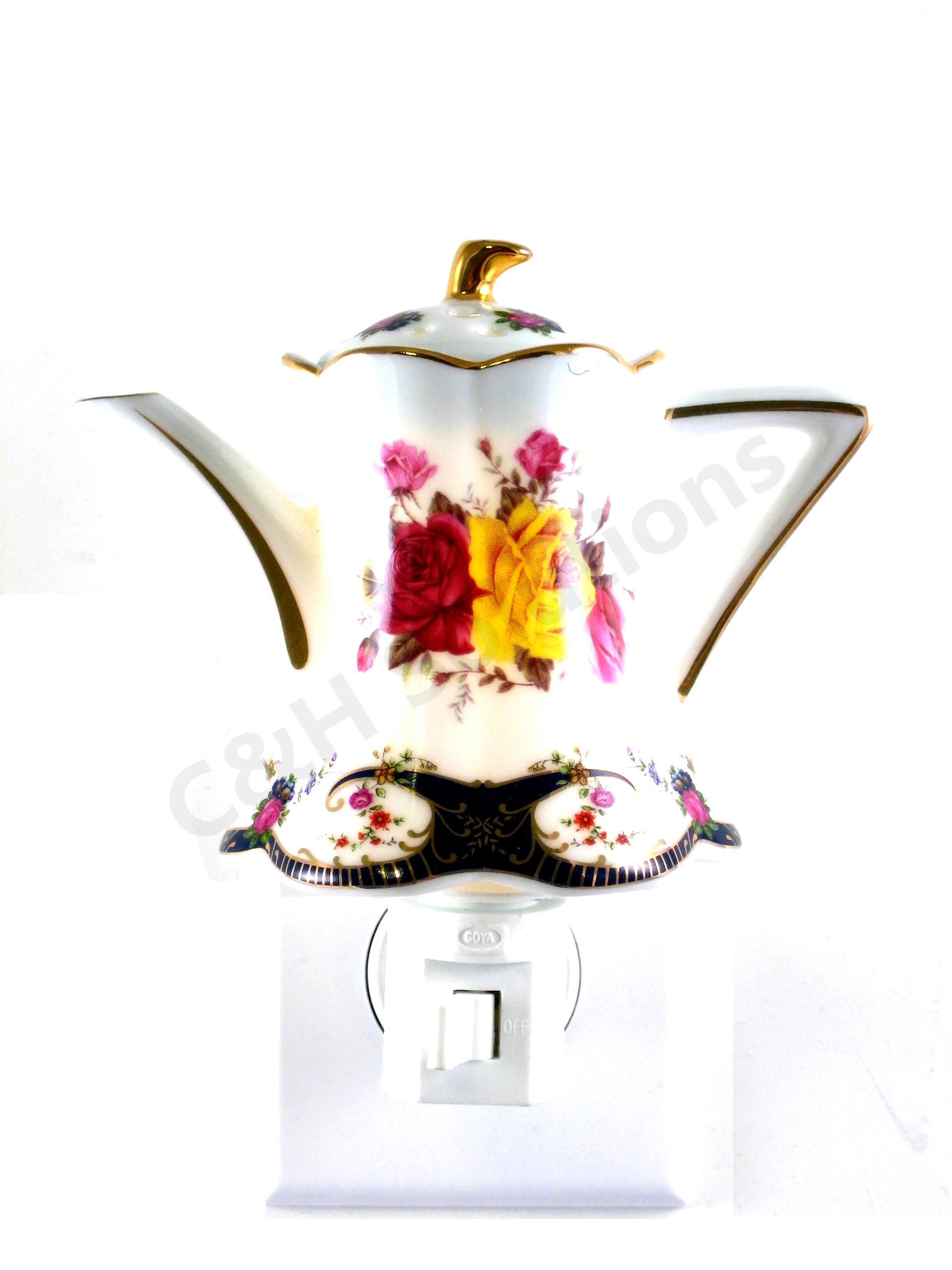 Refined Elegance Floral Teapot Porcelain Flower Night Light