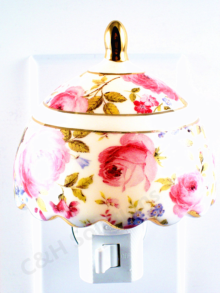 Refined Elegance Floral Lamp Shade Porcelain Flower Night Light