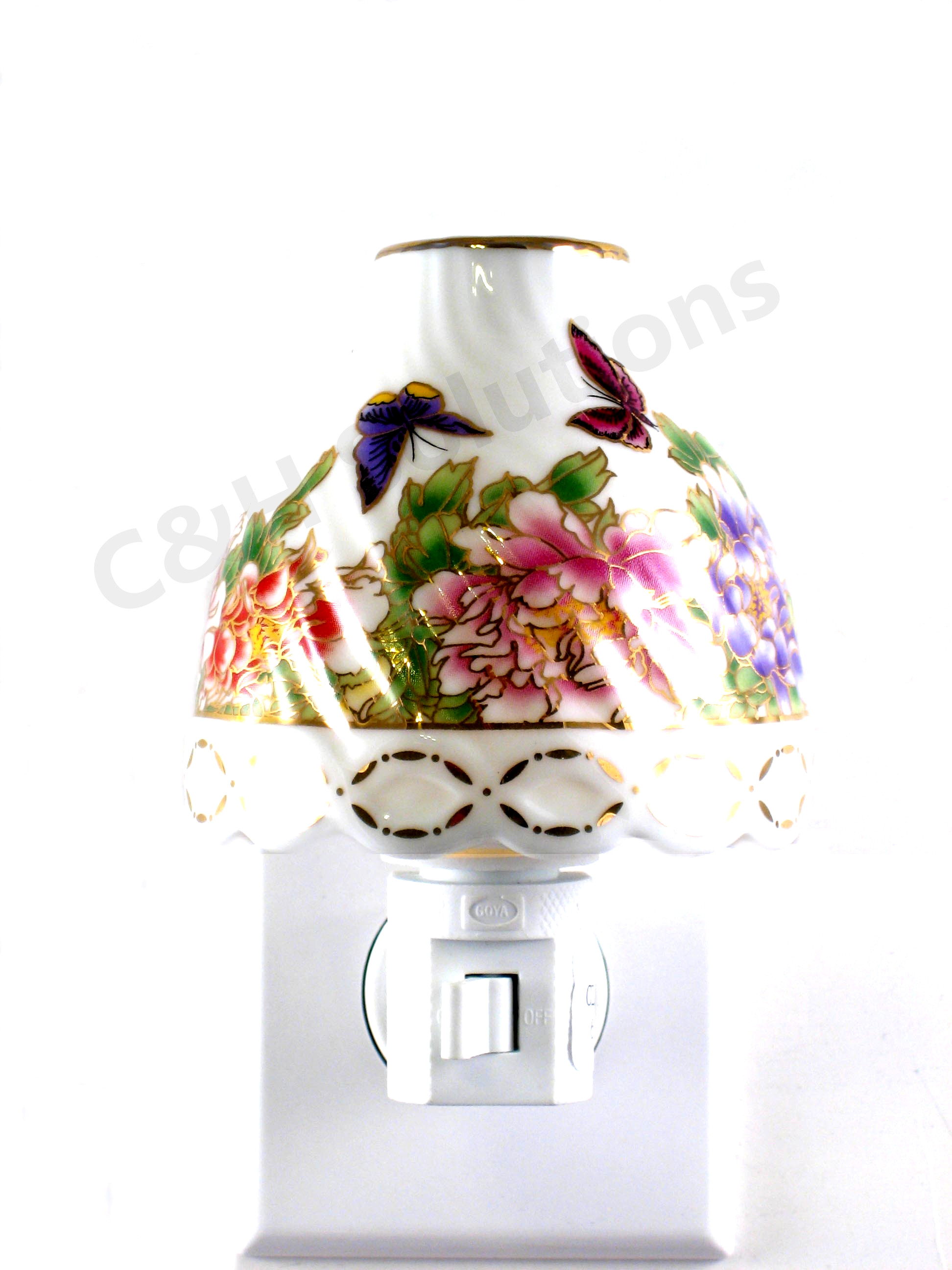 Refined Elegance Floral Lamp Shade Porcelain Flower With Butterfly Night light