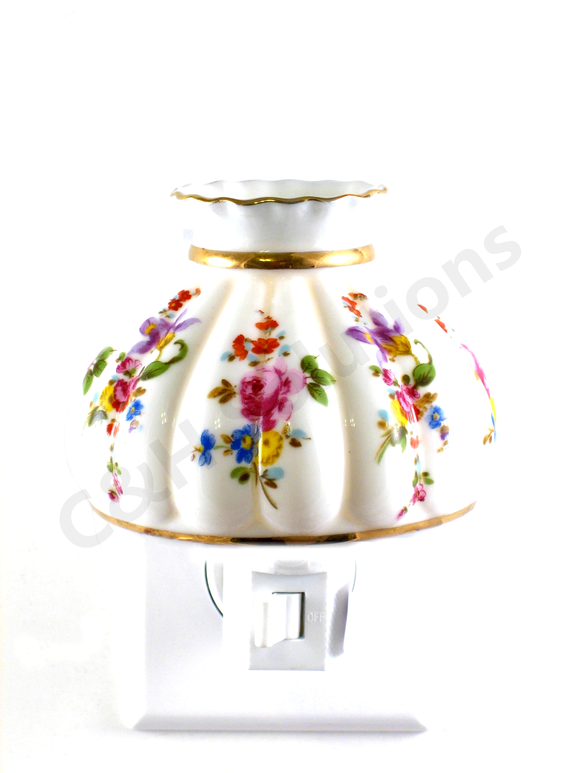 Refinement Elegance Floral Lamp Shade Porcelain Multicolor Flower Night Light