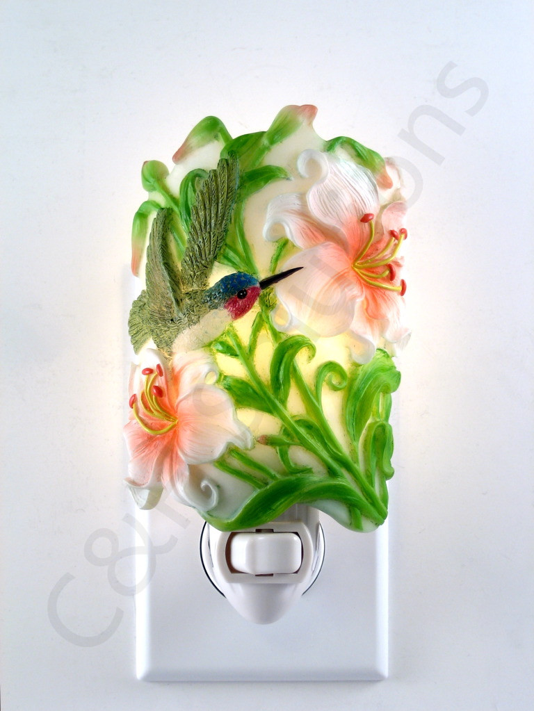Flying Hummingbird With Hibiscus Flower Night Lights