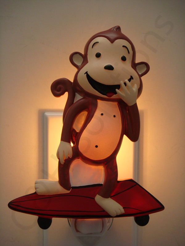 Cute Skateboard Monkey Night Lights