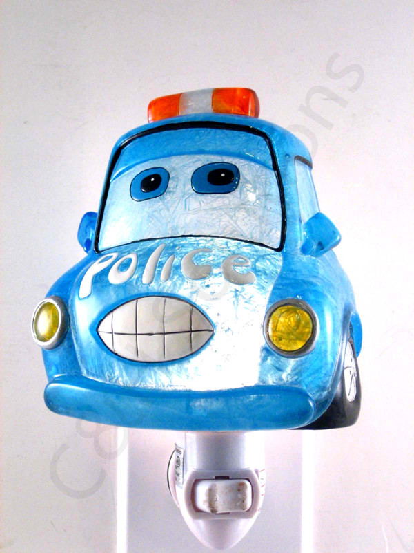 Police Officer Funny Car Night Lights