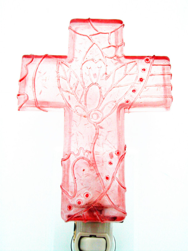 Polyresin Pink Cross Shape Night Lights (CN86)