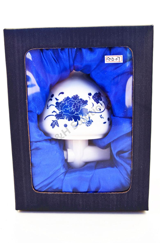 Blue Peony Porcelain Flower Night Light