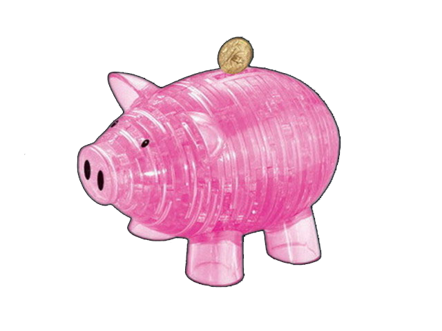 3D Piggy Bank Crystal Puzzle (Pink)