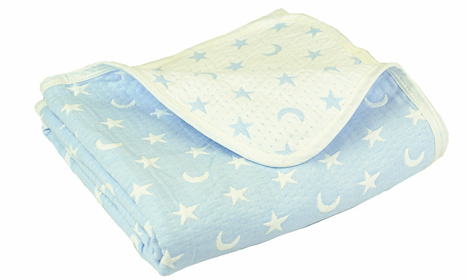 Blue/white Moon and Star Children Quilted Throw Blanket