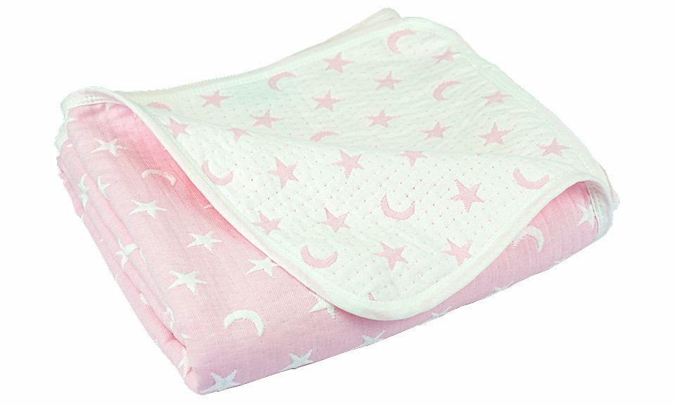 Pink/white Moon and Star Children Quilted Throw Blanket