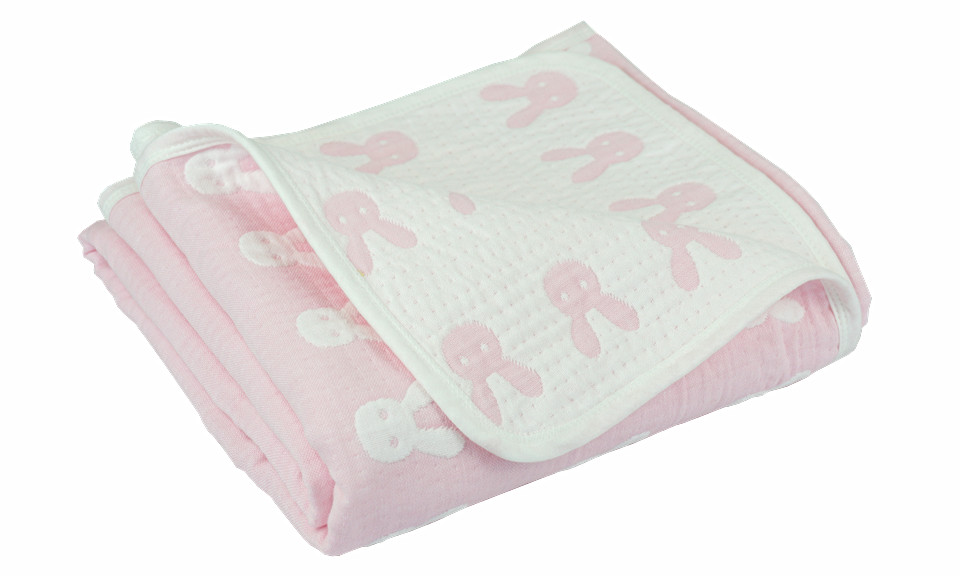 Pink/white Rabbit Children Quilted Throw Blanket