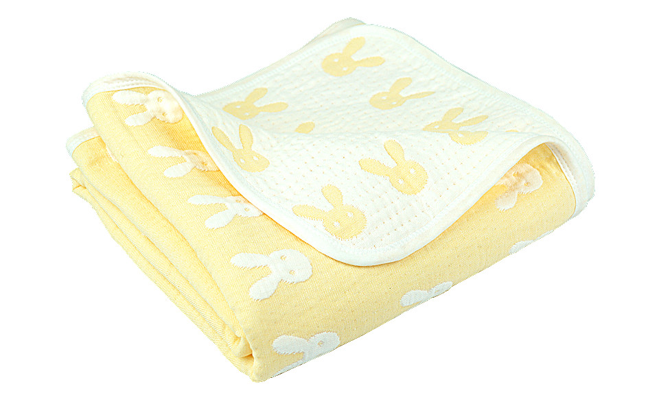 Yellow/white Rabbit Children Quilted Throw Blanket