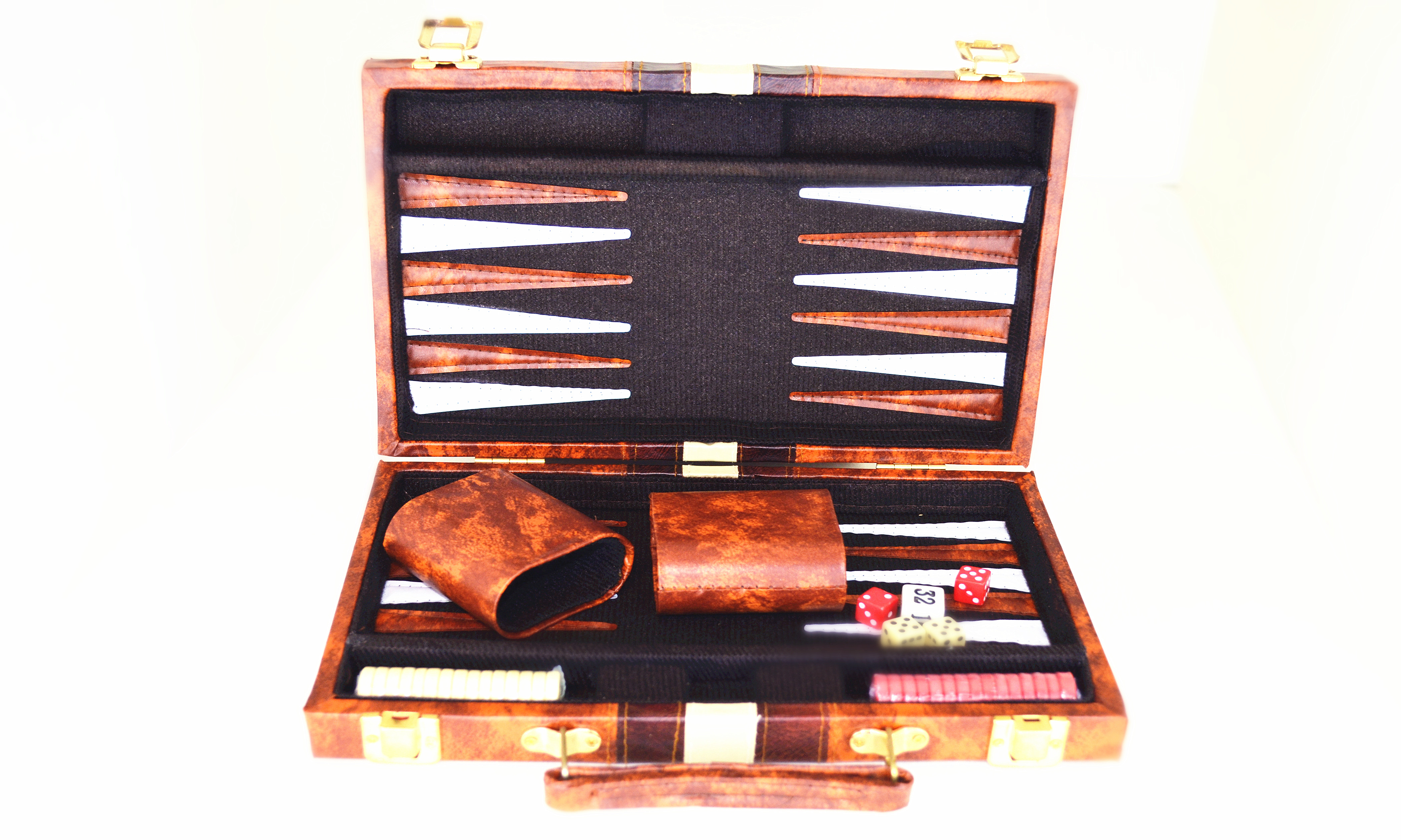 Brown and White Backgammon Set 11""
