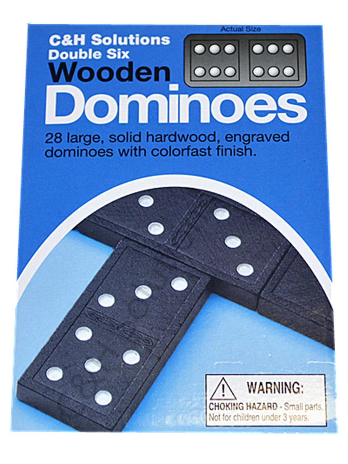 Double 6 Dominoes Black With White Dots Wooden Dominoes 28 PCS