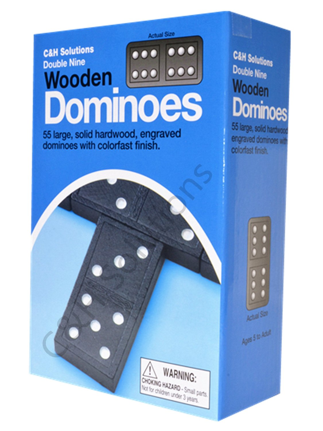 Double 9 Dominoes Black With White Dots Wooden Dominoes 55 PCS